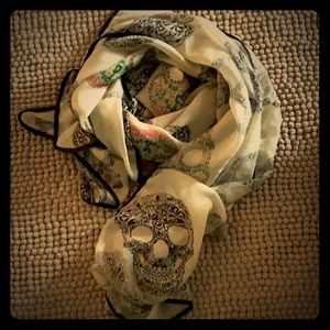 Skulls Scarf 45 inches by 52 inches Pre Owned